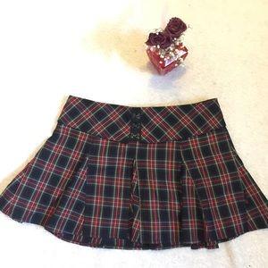 Royal bones plaid pleated miniskirt medium